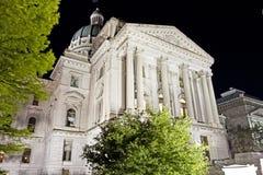 Indiana capitol budynek, niski widok przy nocą od przodu, Fotografia Stock