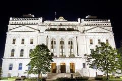 Indiana capitol budynek zaświecający up przy nocą fotografia royalty free
