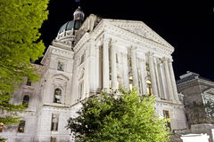 Indiana capitol building, low view, at night from front Stock Photography