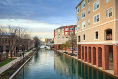 Indiana Central Canal. Downtown of Indianapolis by Indiana Central Canal Royalty Free Stock Photography