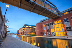 Indiana Central Canal. Downtown of Indianapolis by Indiana Central Canal area Royalty Free Stock Image