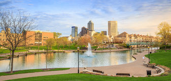 Indiana Central Canal. Panorama view of downtown of Indianapolis by Indiana Central Canal Stock Photography