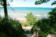 Indiana Dunes National Lakes Shore. View from the top of a dune at the Indiana Dunes National Lake Shore Park in Northern, Indiana Stock Photo
