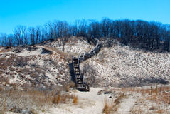 Indiana Dunes National Lakeshore. The final stretch of the Dune Succession Trail; a wooden staircase descending to the beach Royalty Free Stock Photography