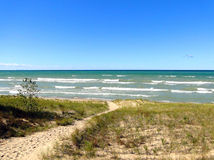 Indiana Dunes National Lakeshore. Trail leading to the beach. Shot at Indiana Dunes National Lakeshore stock photos