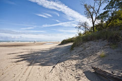 Indiana Dunes State Park Beach. In Late Summer royalty free stock images