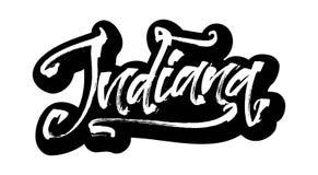 indiana etikett Modern kalligrafihandbokstäver för serigrafitryck Royaltyfria Bilder