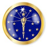 Indiana Flag Button. Indiana state flag button with a gold metal circular border over a white background Royalty Free Stock Photography