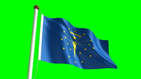 Indiana flag. Seamless  green screen stock video footage