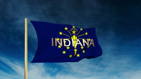 Indiana flag slider style with title. Waving in stock footage