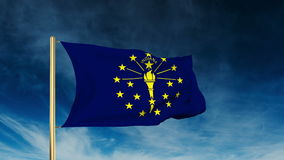 Indiana flag slider style. Waving in the win with. Indiana flag slider style. Waving with cloud background animation stock video footage