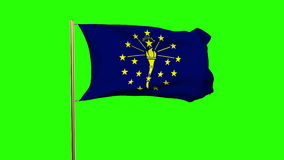 Indiana flag waving in the wind. Green screen stock footage