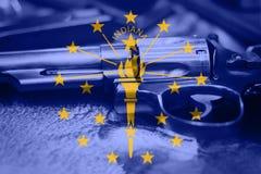 Indiana-Flagge U S Zustand Reglementierung von Waffenbesitz USA Vereinigte Staaten schießen Gesetz Lizenzfreie Stockfotografie