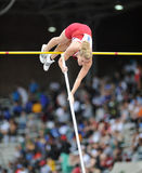 Indiana Hoosier pole vaulter - ladies Royalty Free Stock Images
