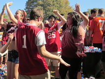 Indiana Hoosiers Tailgate Party. OCTOBER 2011 - BLOOMINGTON, IN: Indiana University students party at a tailgate before a Hoosiers football game Stock Image