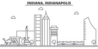 Indiana, Indianapolis  architecture line skyline illustration. Linear vector cityscape with famous landmarks, city sight Royalty Free Stock Images