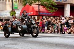 Indiana Jones Characters Ride Motorcycle In Atlanta Dragon Con Parade Stockfotografie