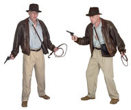 Indiana Jones Style Action Hero Isolated. Indiana Jones action hero style character. The character is known as an adventurer archeologist who is in search of royalty free stock image