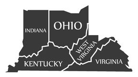 Indiana - Kentucky - West Virginia - Virginia - Ohio Map labelle Stock Images