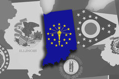 Indiana map and flag Stock Photography