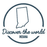 Indiana Map Outline Le vintage découvrent le monde Photographie stock libre de droits