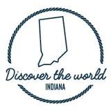 Indiana Map Outline Le vintage découvrent le monde Photo stock
