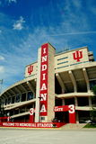 Indiana Memorial Football Stadium. Bright red Indiana with IU logo entrance to the IU Memorial stadium in Indiana Royalty Free Stock Photography