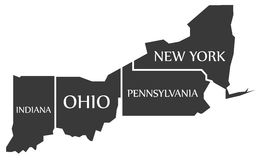 Indiana - Ohio - Pennsylvania - New York Map labelled black Royalty Free Stock Photo