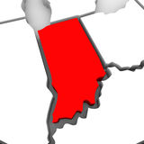 Indiana Red Abstract 3D State Map United States America. A red abstract state map of Indiana, a 3D render symbolizing targeting the state to find its outlines Royalty Free Stock Photo