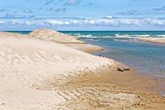 Indiana Sand Dunes on Lake Michigan`s Shoreline. Indiana Dunes National Lakeshore is a National Park on Lake Michigan`s south shore. The sand dunes make this stock images