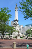 Indiana Soldiers' and Sailors' Monument. INDIANAPOLIS - JUNE 16:  The Indiana Soldiers' and Sailors' Monument shown June 16, 2014, is at the center of Monument Royalty Free Stock Images