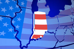 Indiana IN State Flag Map USA United America Royalty Free Stock Images