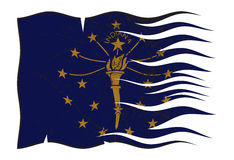 Indiana State Flag Wavy And Grunged Photo libre de droits
