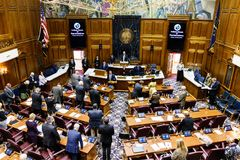 Indianapolis - Circa January 2019: Indiana State House of Representatives in session giving the Pledge of Allegiance II stock photo