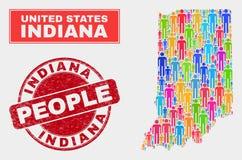 Indiana State Map Population Demographics e selo do selo do Grunge ilustração stock