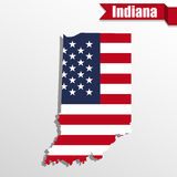 Indiana State map with US flag inside and ribbon Royalty Free Stock Photos