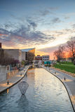 Indiana State Museum på solnedgången Royaltyfri Fotografi