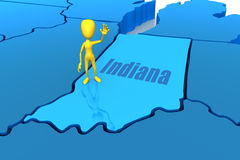 Indiana state outline with yellow stick figure Royalty Free Stock Photo