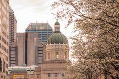 The Indiana Statehouse. At twilight stock photos