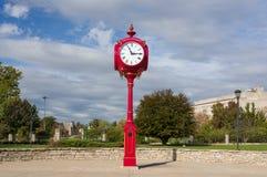 Indiana University Landmark Campus Clock. BLOOMINGTON, IN/USA - OCTOBER 22, 2017: Landmark campus clock and logo on the campus of the University of Indiana Royalty Free Stock Photo