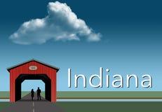 Indiana uwypukla w ten wiejskim o temacie plakacie Czerwień zakrywający most, niebieskie niebo, strumień i mieszkanie obszar traw ilustracji