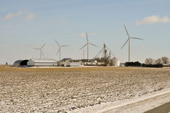 Indiana Wind Turbine over the family farm. Indiana Wind Turbine turns over the family farm Stock Images