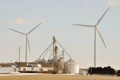 Indiana Wind Turbine over farm. Silos Stock Photography