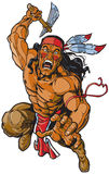 IndianApache krigare som anfaller med tomahawk royaltyfri illustrationer