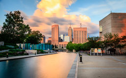 Indianapolis. Beautiful view of Indianapolis skyline at sunset stock photo