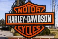 Indianapolis, BINNEN - Circa Februari 2017: Harley-Davidson Local Signage VI Royalty-vrije Stock Fotografie