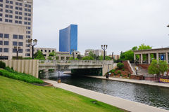 Indianapolis canal and bridge Royalty Free Stock Images