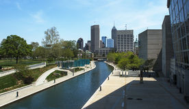 Indianapolis Canal. Water canal in downtown Indianapolis, Indiana royalty free stock photos
