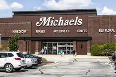 Indianapolis - cerca do agosto de 2017: Exterior da loja do ofício do ` s de Michael O ` s de Michael é artes e a corrente varejo Fotografia de Stock