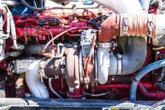 Indianapolis - cerca do junho de 2017: Turbocompressor grande do motor de Peterbuilt Rig Semi Trator Trailer mim fotos de stock royalty free